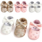 Toddler Girl Crib Shoes Baby Bowknot Soft Sole Prewalker Sneakers US STOCK