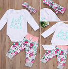 US Stock Newborn Baby Boy Girl Romper Tops Flower Pants 3Pcs Outfits Set Clothes