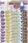 ZAMBIA 5 KWACHA 2012 P-50 UNC LOT 10 Pieces (PCS)