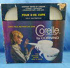 4 Vtg Corelle Old Town Blue 8oz Cups. NIB. Includes Corning Promise Card
