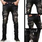 US Vintage Men Straight Holes Slim Fit Jeans Blue Distressed Ripped Skinny Pants