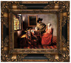 Vermeer The glass of wine Wood Framed Canvas Print Repro 8x10