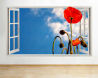 Wall Stickers Poppy Red Flower Sky Sunny Window Decal 3D Art Vinyl Room D163