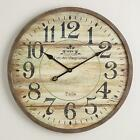 Large Round Wood Wall Clock Farmhouse Rustic Classic French Antiqued 246 Dia