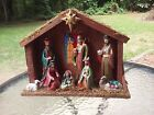 Nativity Set Scene Wooden Creche Figurine W Lighted Faux Stained Glass Window