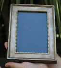 Vintage Vanity JEWELED photo picture Frame w Rhinestones sillver plt brass glass