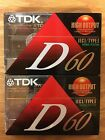 TDK D-60 High Output/Low Noise Type I Audio Cassette Tapes Sealed 2 pack