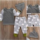 Adorable Baby Girls Boys Clothes Tops T shirt+Leggings Hat Outfits Pajamas Set