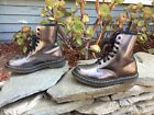 155 DrMarten Pascal Metallic Pewter Leather 8 Eye Lace Up Combat Boot Wm 6