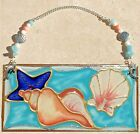 Coastal Suncatcher Ornament Stain Glass Art Window Hanging Panel Beach Gift