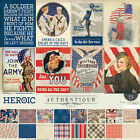 Authentique HEROIC Military Americana Collection Kit 12x12 CS Stickers HER011