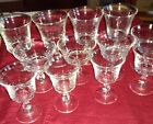 Vintage Footed Clear Glass Pedestal Dessert, Small Wine, and Water Goblets for 4