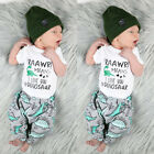 USStock Newborn Baby Boy Romper Long Pants Leggings Hat Outfit Dinosaur Clothes