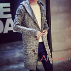 Hot Fashion Men Hooded Cardigan Long Trench Coat Knitting Sweatwr Outwear Jacket