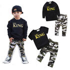 US Stock Toddler Infant Kids Baby Boys Clothing T shirt Tops+Pants Outfits Set