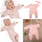 Newborn Baby Girls Floral Romper Bodysuit Jumpsuit Headband Outfits Clothes USA
