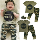 US Stock Newborn Baby Boy Girl Camo T shirt Tops Pants Outfits Set Clothes 0 24M