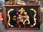 Vintage Inlaid Wood Iridescent Butterfly Wing Serving Tray Samba Brazil