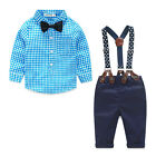 US Newborn Kids Baby Boy Bow Tie Plaid Shirt+Suspender Pants Trousers Outfit Set