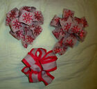 set of 3Wired Ribbon Premade BOW for WreathBeigeSnowflakesRed Burlap stripe
