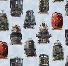 Trains Elizabeth Studio All Aboard Locomotive RX Model Train Boy Cotton Fabric