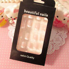 24Pcs Lady Womens French Style DIY Manicure Art Tips False Nails with Glue tbus