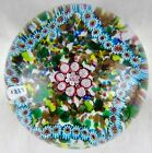 Vintage Murano Glass Paperweight Light Blue & Pink Millefiori Star Outline 1885
