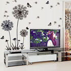 Flowers Dandelion Butterflies Black Wall Stickers Mural Art Decal 3D Room Decor