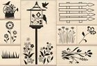 Inkadinkado Flower Garden Gate Bird House set Wooden Rubber Stamp