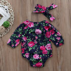 USA Newborn Baby Girl Floral Romper Jumpsuit Bodysuit Outfit Long Sleeve Clothes
