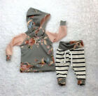 Newborn Baby Girls Floral Hooded Tops Striped Pants Leggings Outfits Clothes US