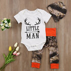 US 3Pcs Newborn Baby Boy Tops Romper Camouflage Long Pants Deer Outfit Clothes c