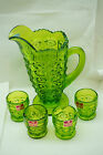 VIKING GLASS PITCHER AND GLASSES SET BULLEYE PATTERN 5 PC GREEN VINTAGE 8in