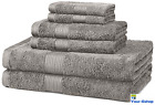 6 Piece Bath Towel Set 100 % Cotton Hand Towels Body Wash Cloth Sets Quick Dry