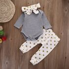 0 18M Newborn Baby Toddler Girls Romper Jumpsuit Shirt+Pants Clothes Outfits Set