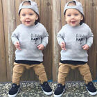0 4T 2pcs Toddler Kids Baby Boy Girls T shirt Tops+Long Pants Outfit Clothes Set