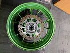 06-11 KAWASAKI ZX14 ZX 14 zx14 ZZR1400 REAR WHEEL RIM ROTORS GREEN STRAIGHT OEM
