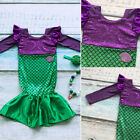 US Stock Kid Baby Girl Sequins Mermaid Tail Princess Costume Cosplay Party Dress