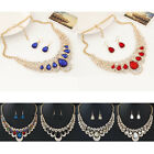 Fashion Women's Chic Colorful Crystal Earrings Pendant Necklace Jeweley Set Hot