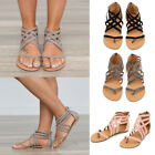Women Post Toe Flip Flops Sandals Zipper Back Cross Strappy Gladiator Shoes Size
