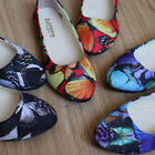 Womens Flat Ballet Butterfly Printing Boat Shoes Slip On Casual Outdoor Loafers