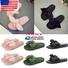 US Womens Satin Bow Summer Slide Slip On Flat Sandal Shoes Slipper Soft Sole NEW