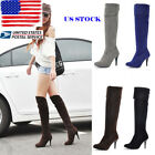 US Ladies Leather Suede Long Boots Knee High Heels Stiletto Booties Shoes Size