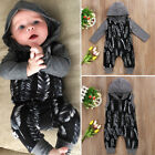 US Stock Newborn Baby Boy Feather Hooded Romper Jumpsuit Playsuit Outfit Clothes