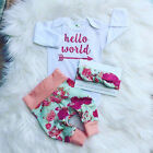 USA Newborn Baby Girl Flower Tops Romper+Long Pants Headband Outfit Clothes Set