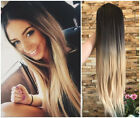 24Inches Ombre Half Head Wig 3/4 Weave Straight Wavy Curly Loose Curl No Parting