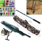21M Fishing Rod Spinning Reel Combo Telescopic Set With Net Bag And Lure C0T9