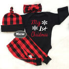 USA Newborn Baby Girls Boys Top Romper Check Long Pants Hat Outfits Clothes Set