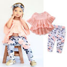 USA Toddler Kids Baby Girls Clothes Outfits T shirt Tops + Floral Long Pants Set