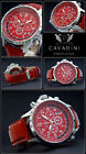 LUXURY CHRONOGRAPH Cavadini Watch Tachymeter Swivelling Ring in Red NEW